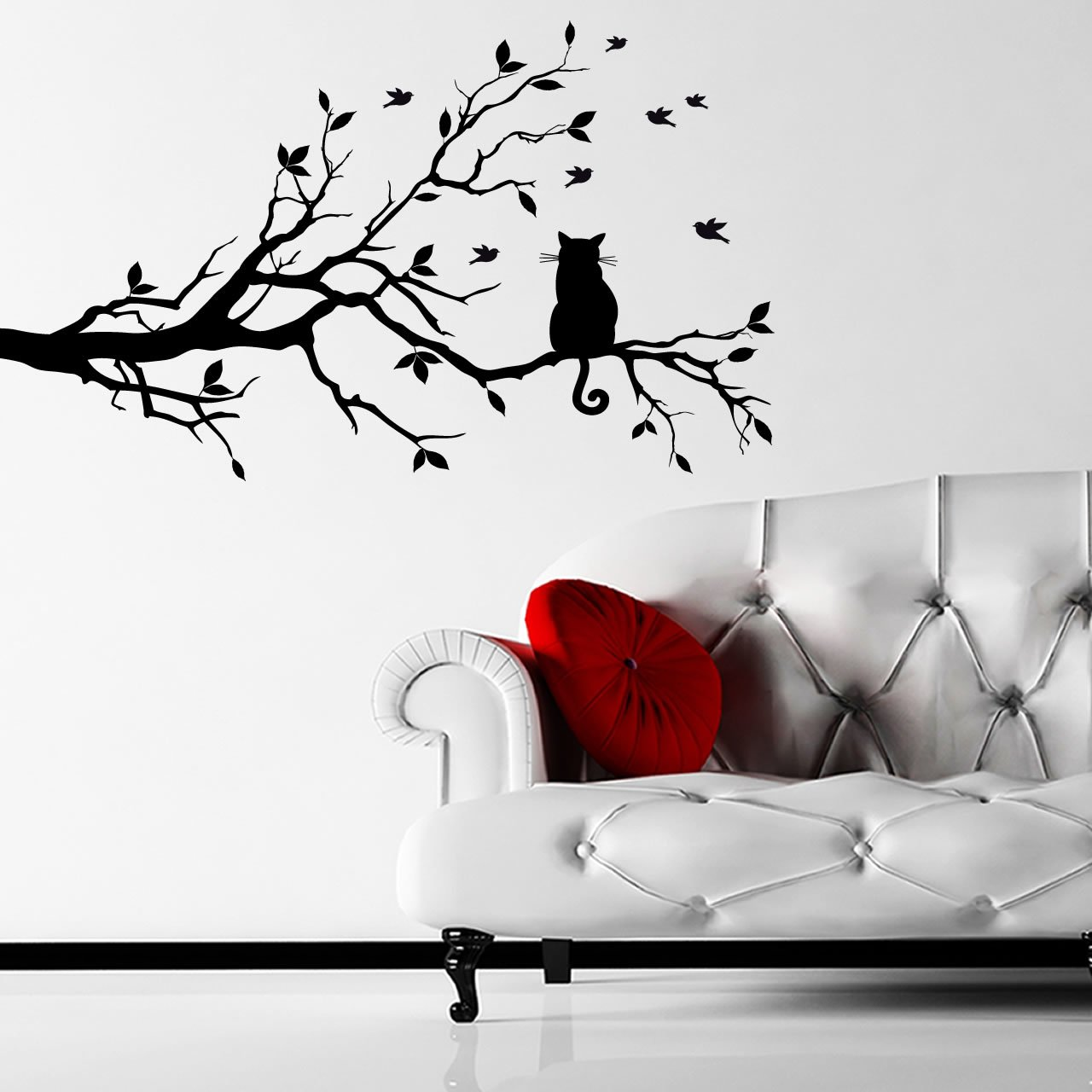 Cat on a branch animal wall sticker world of wall stickers cat on a branch animal wall sticker decal a amipublicfo Image collections