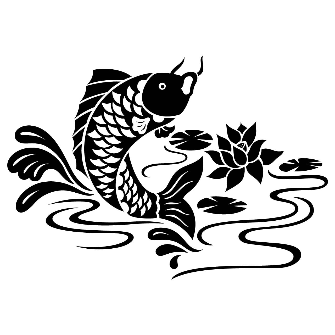 Koi carp fish animal wall sticker world of wall stickers for Koi fish wall stickers
