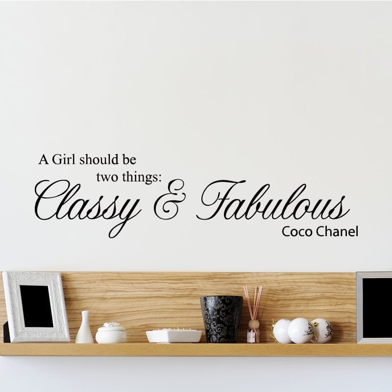 classy and fabulous coco chanel quote wall sticker world