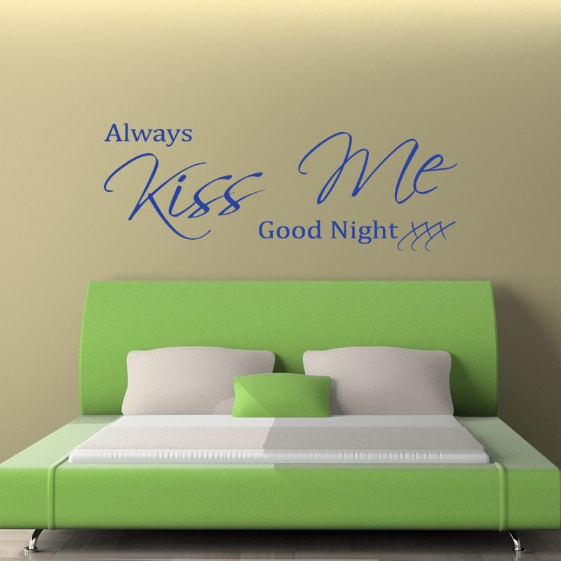 always kiss me goodnight quote wall sticker world of