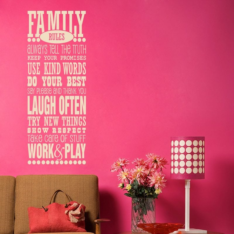 family rules quote wall sticker world of wall stickers