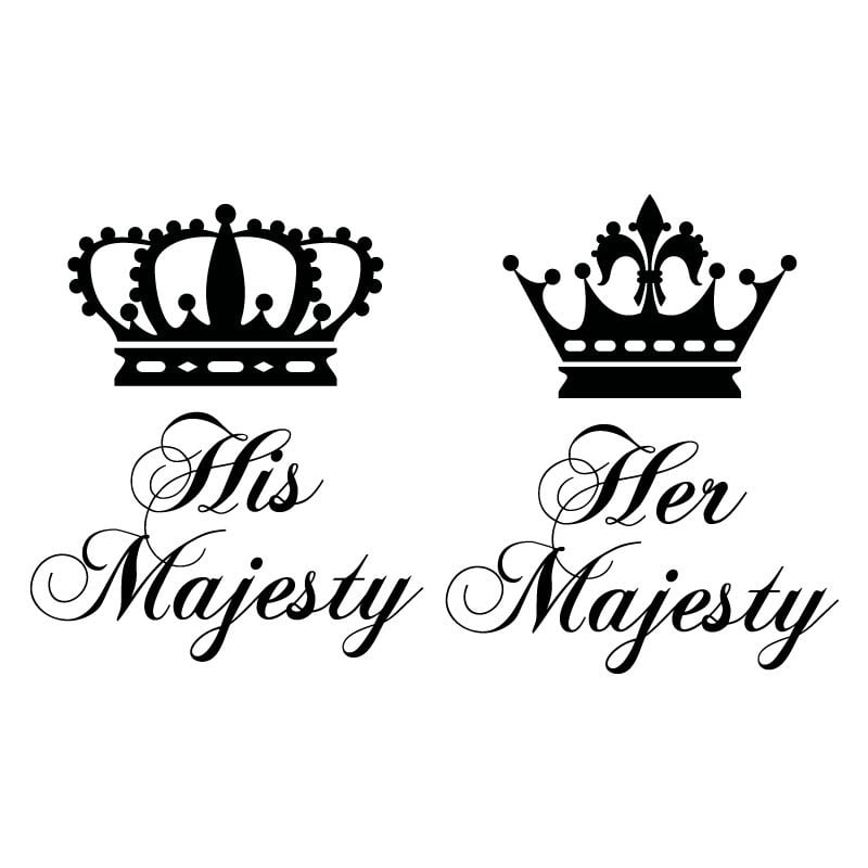 His And Her Majesty Crowns V2 Wall Sticker - World of Wall ...