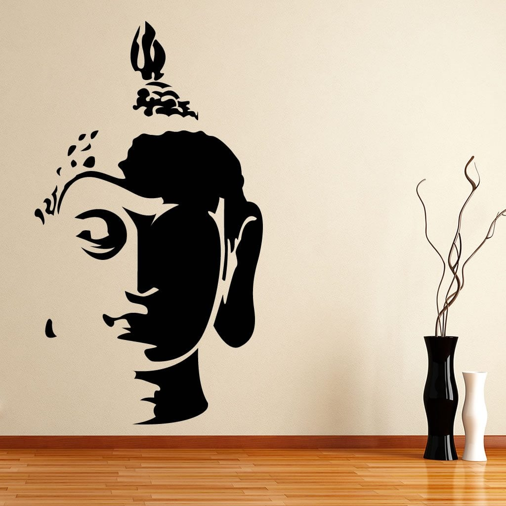 Buddha head wall sticker world of wall stickers for Wall art decals