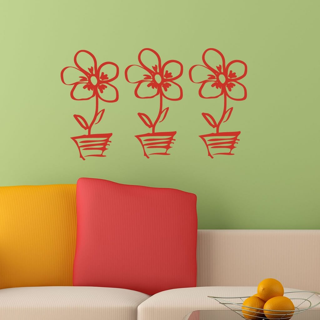 Flower Pot Doodle Wall Sticker World of Wall Stickers