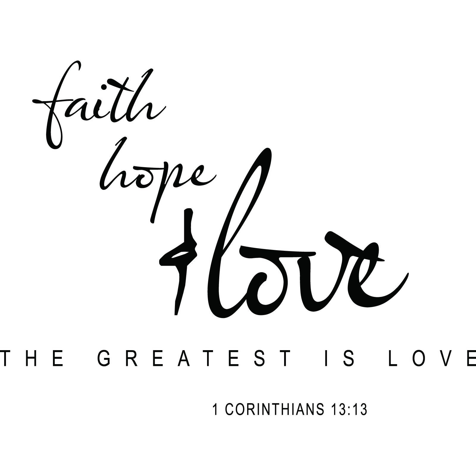 Religious Quotes About Love Simple Faith Hope Love Religious Quote Wall Sticker  World Of Wall Stickers