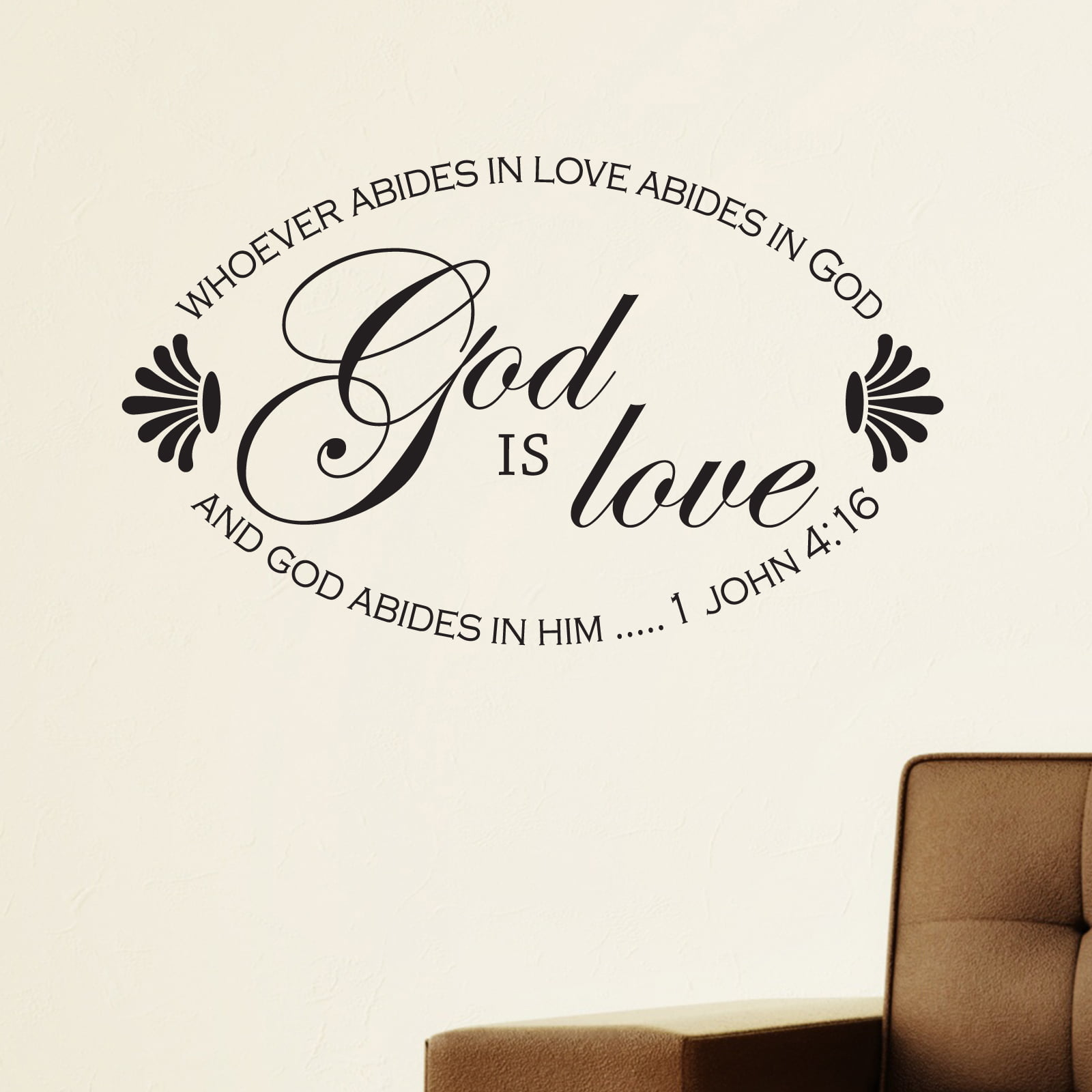 God Is Love Oval Religious Quote Wall Sticker - World of ...