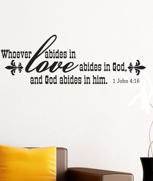 Abide In Love Religious Quote Wall Sticker – Decal – a