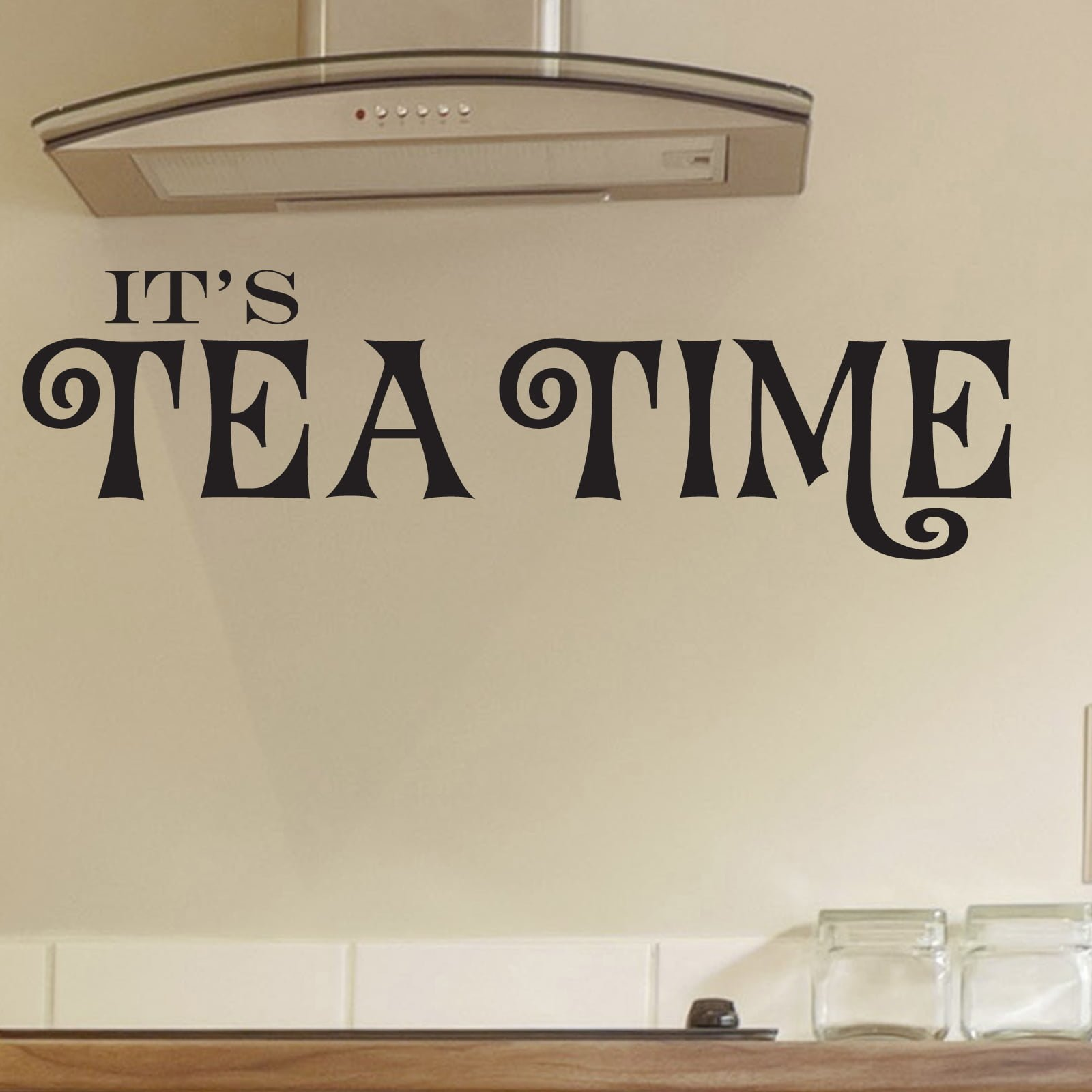 Its tea time kitchen quote wall sticker world of wall for Kitchen quote decals