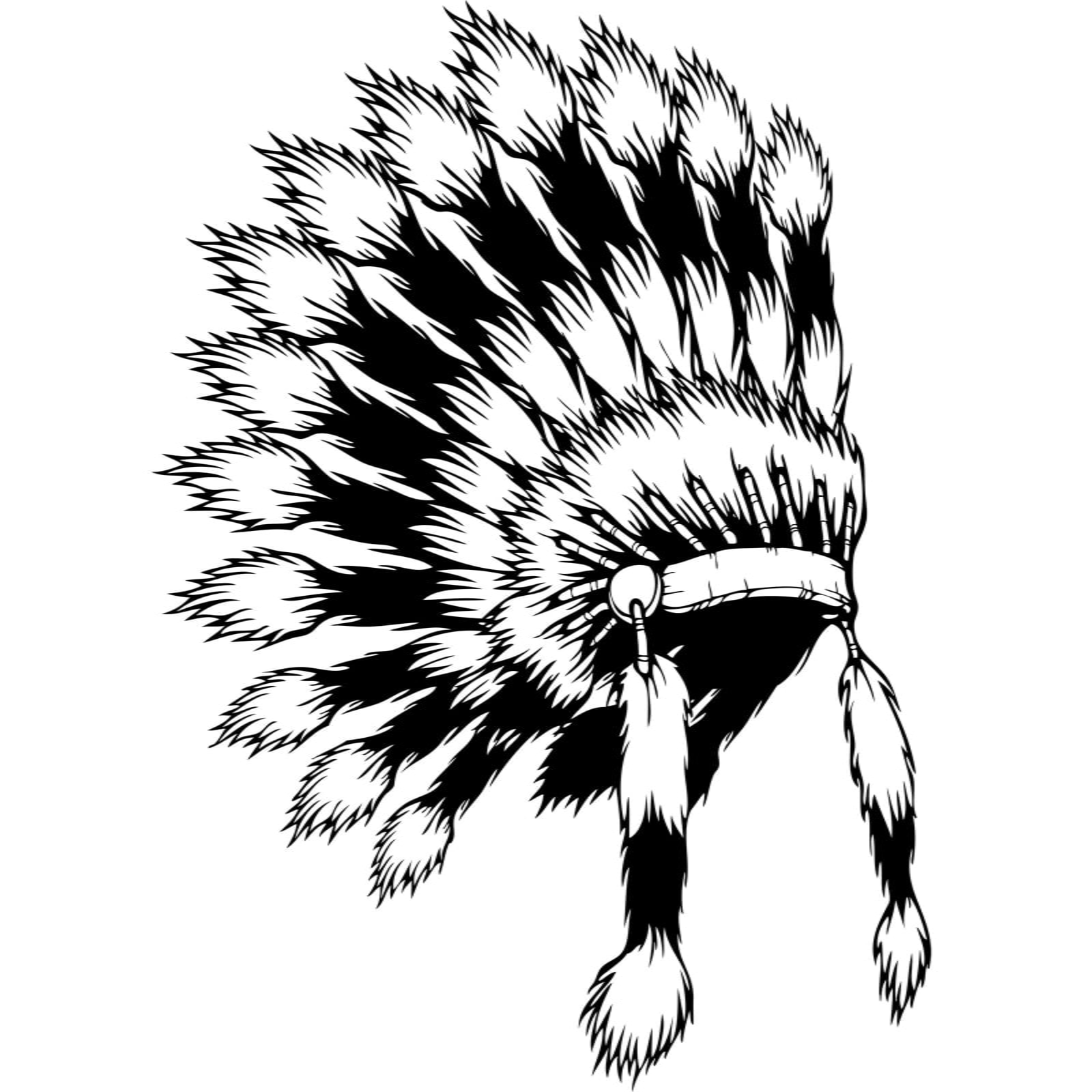 Native american indian headdress wall sticker world of for Indian feathers coloring page