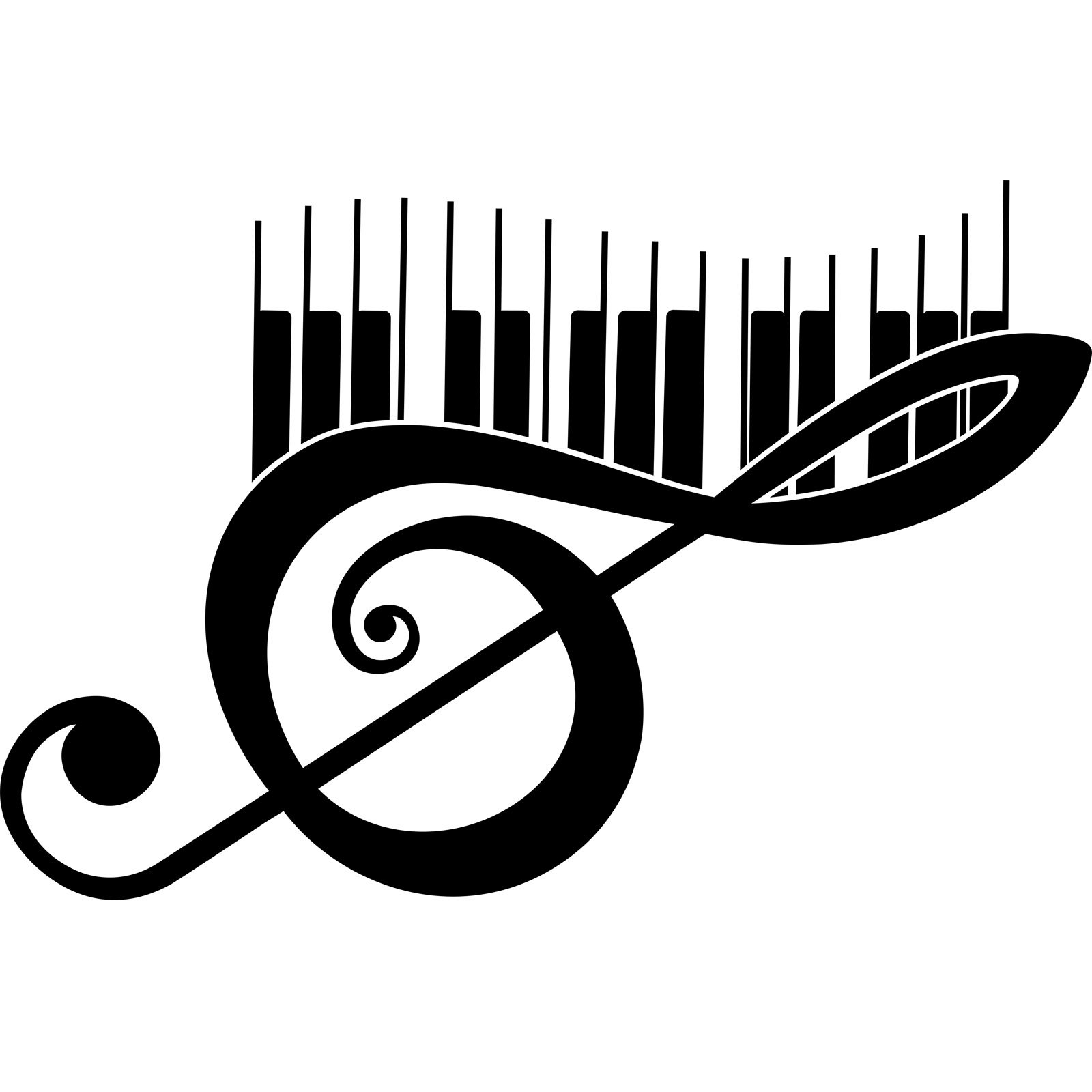 Treble Clef And Piano Keys Musical Wall Sticker World Of