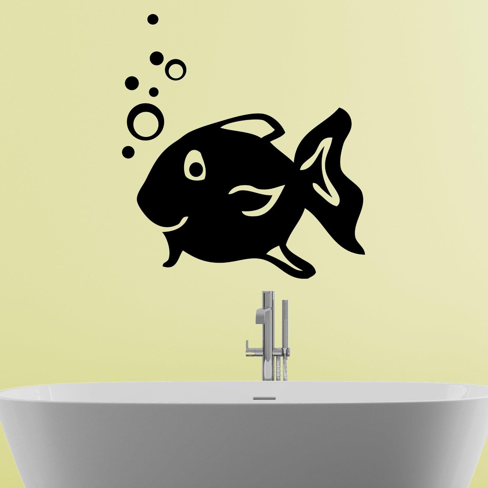 Happy Fish Blowing Bubbles Bathroom Wall Sticker - World of Wall ...
