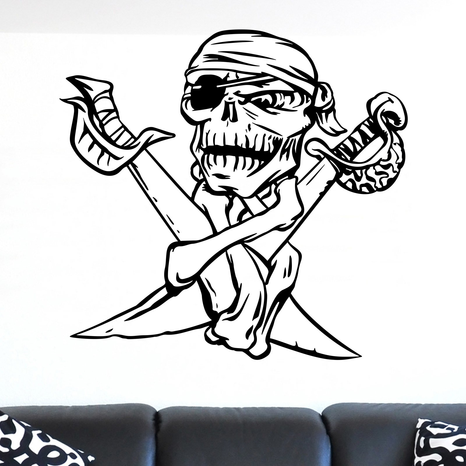 Cool skull and cross swords pirate wall sticker world of wall cool skull and cross swords pirate wall sticker decal a amipublicfo Gallery