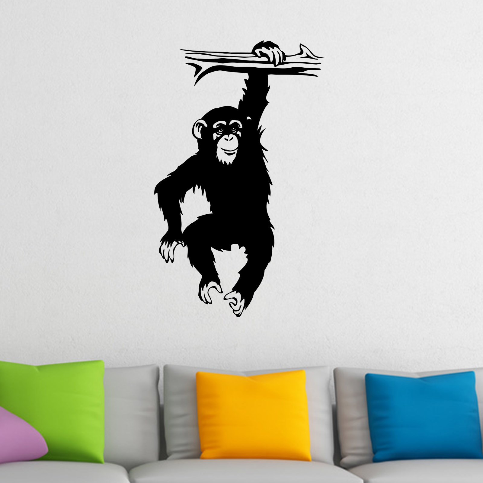 monkey hanging from branch chimp ape animal wall sticker world