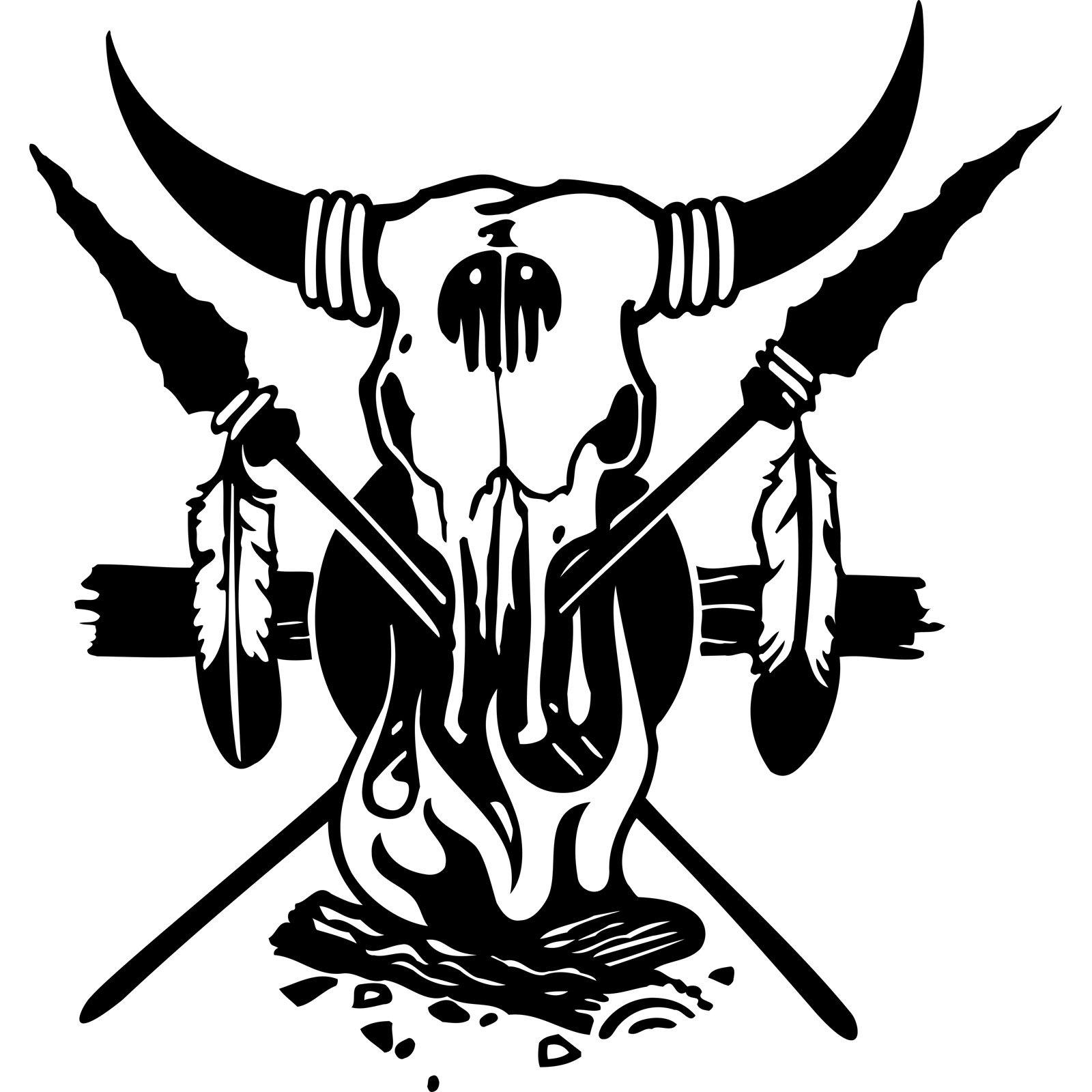 Mirrored Wall Art Stickers Buffalo Skull Cross Spears Native American Indian Wall