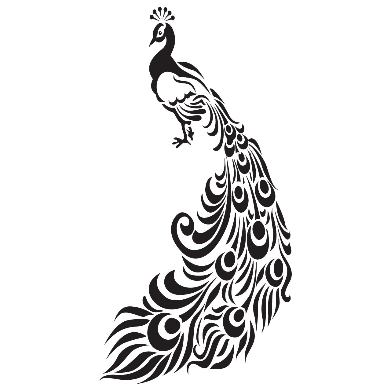 Line Drawing Peacock : Ornate peacock with feathers bird wall sticker world of