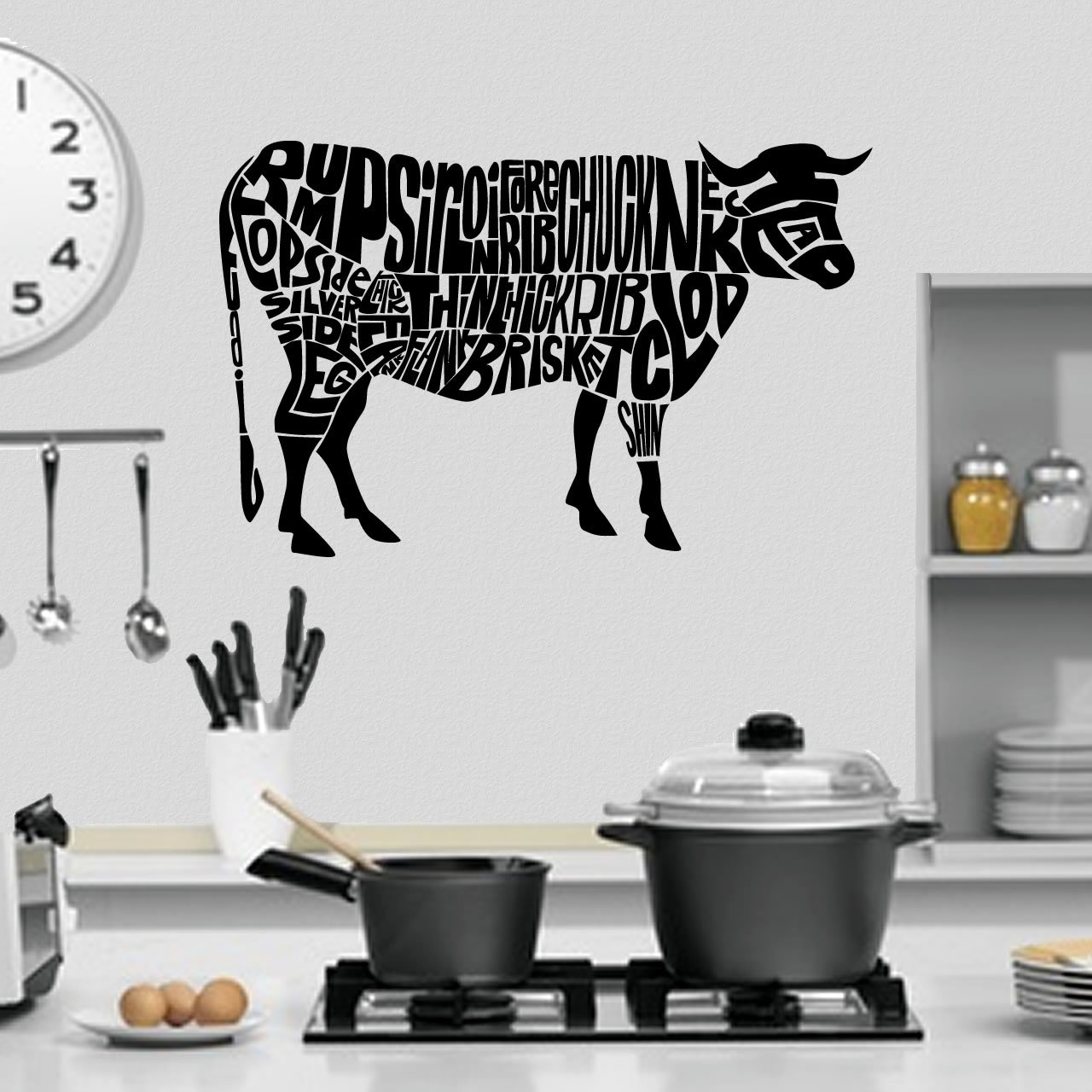 Cow Anatomy - Cuts Of Beef Kitchen Wall Sticker - World of Wall Stickers