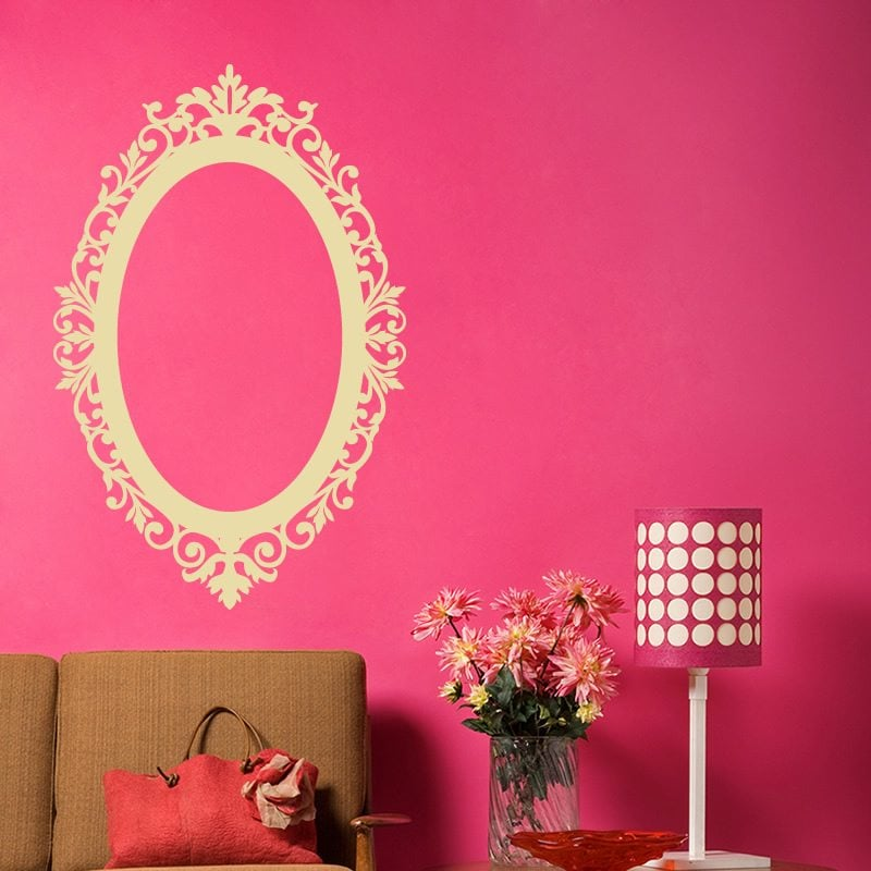 Ornate Oval Frame Vintage Wall Sticker - World of Wall Stickers