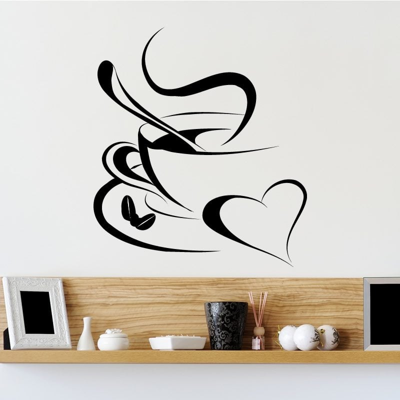 Wall Stickers Wall Tattoo Kitchen Coffee Time Coffee Cafe Cup Slogan Dining