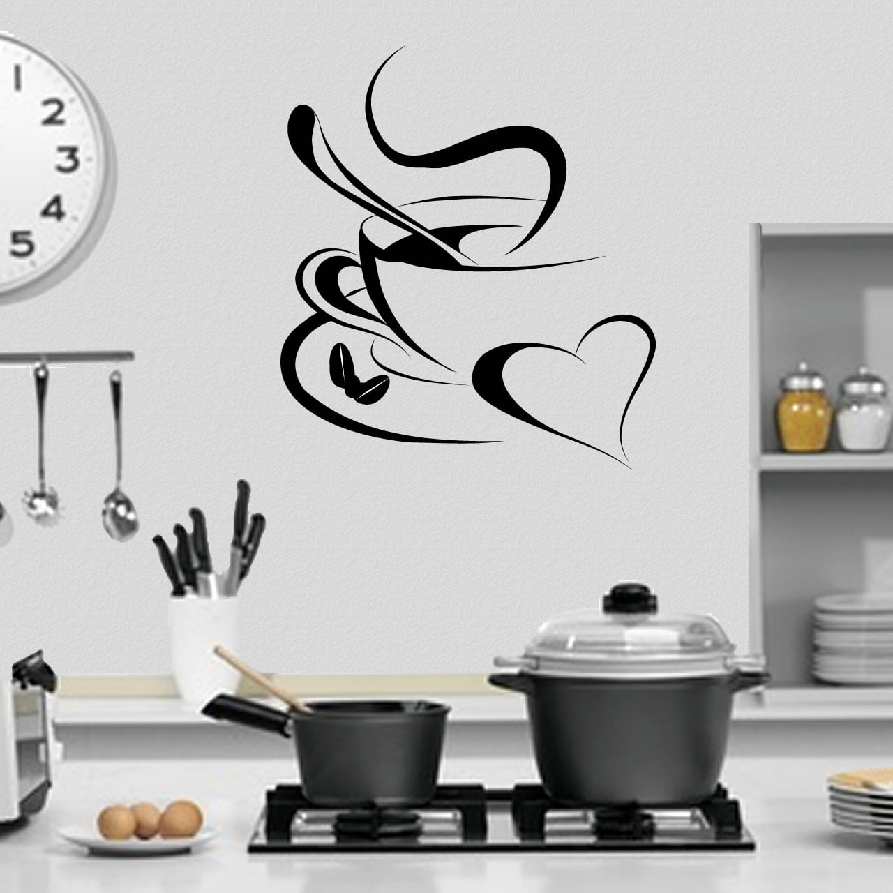 Cup of coffee with love kitchen wall sticker decal for Stickers pareti