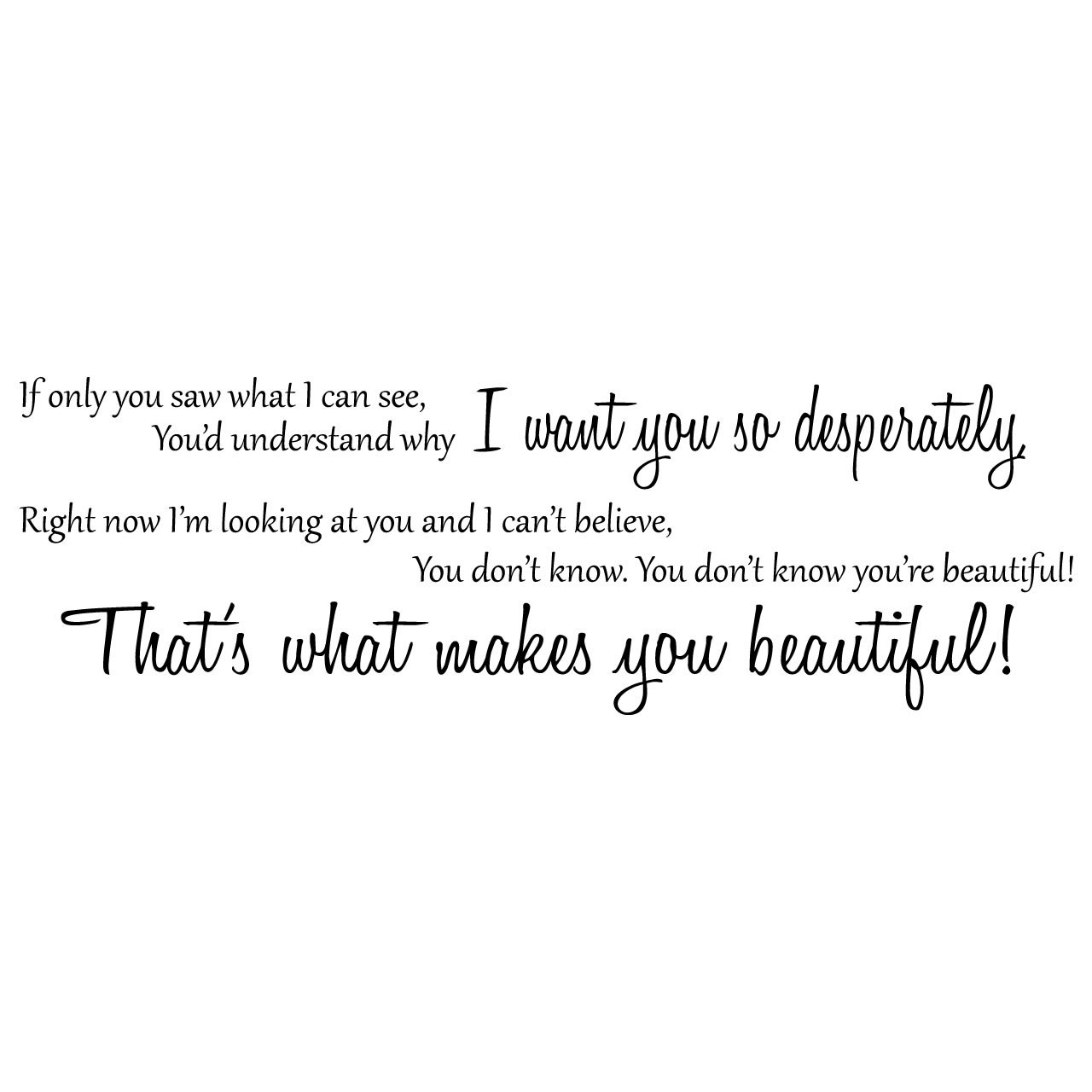 One Direction Beautiful Song Lyrics Wall Sticker / Decal ...