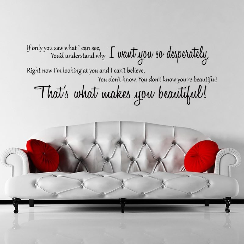 One Direction Beautiful Lyrics Wall Sticker U2013 Decal U2013 A