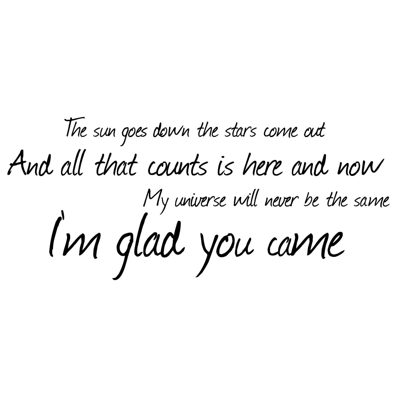 The Wanted Glad You Came Lyrics Wall Sticker - World of Wall Stickers