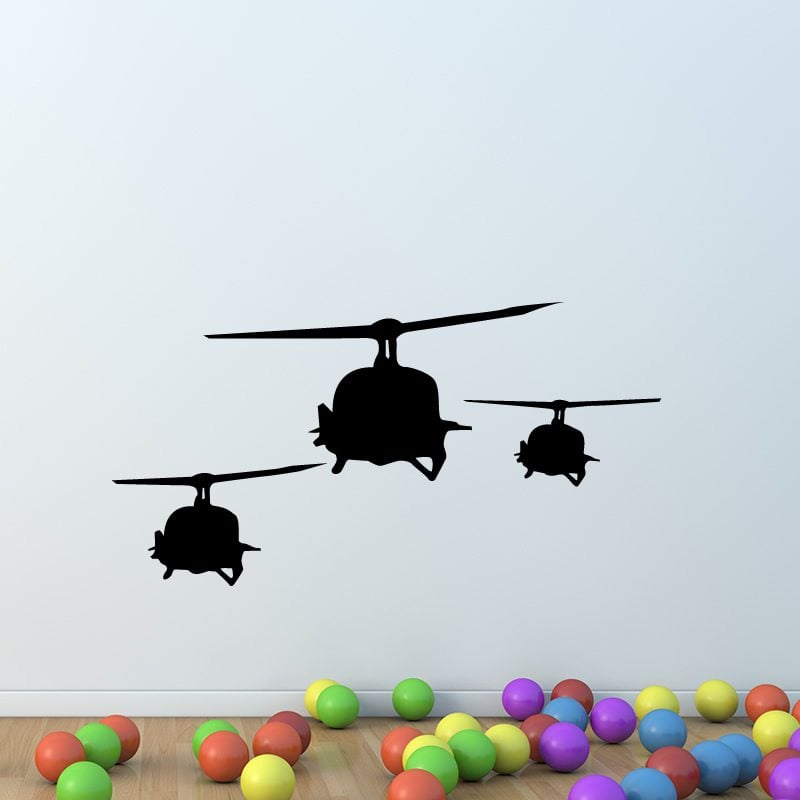Trio Of Military Helicopters Wall Sticker / Decal
