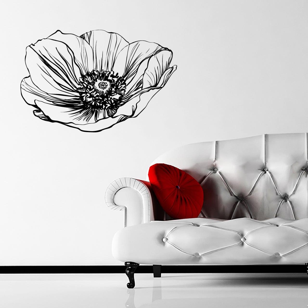 Poppy Flower Wall Sticker ...