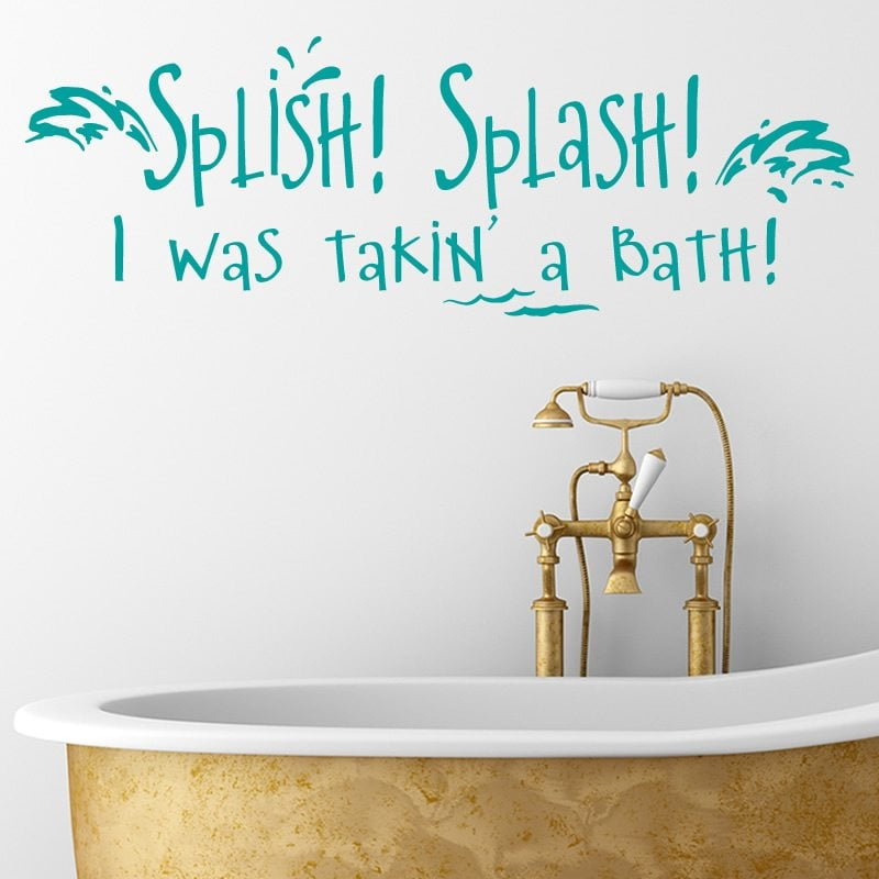 splish splash i was takin 39 a bath bathroom wall sticker world of wall stickers. Black Bedroom Furniture Sets. Home Design Ideas