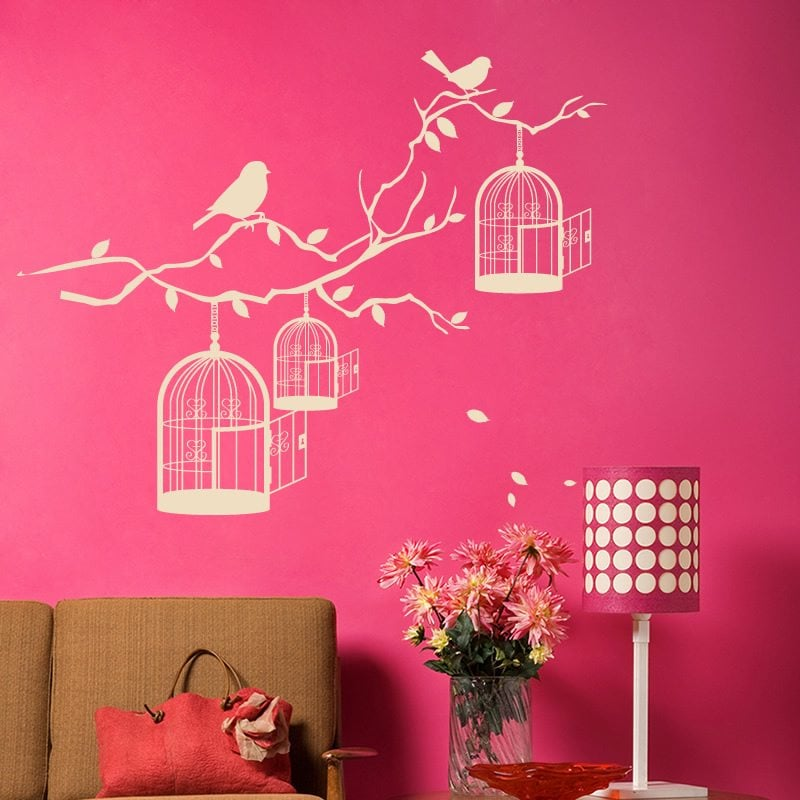Bird Cages On Branch Vintage Wall