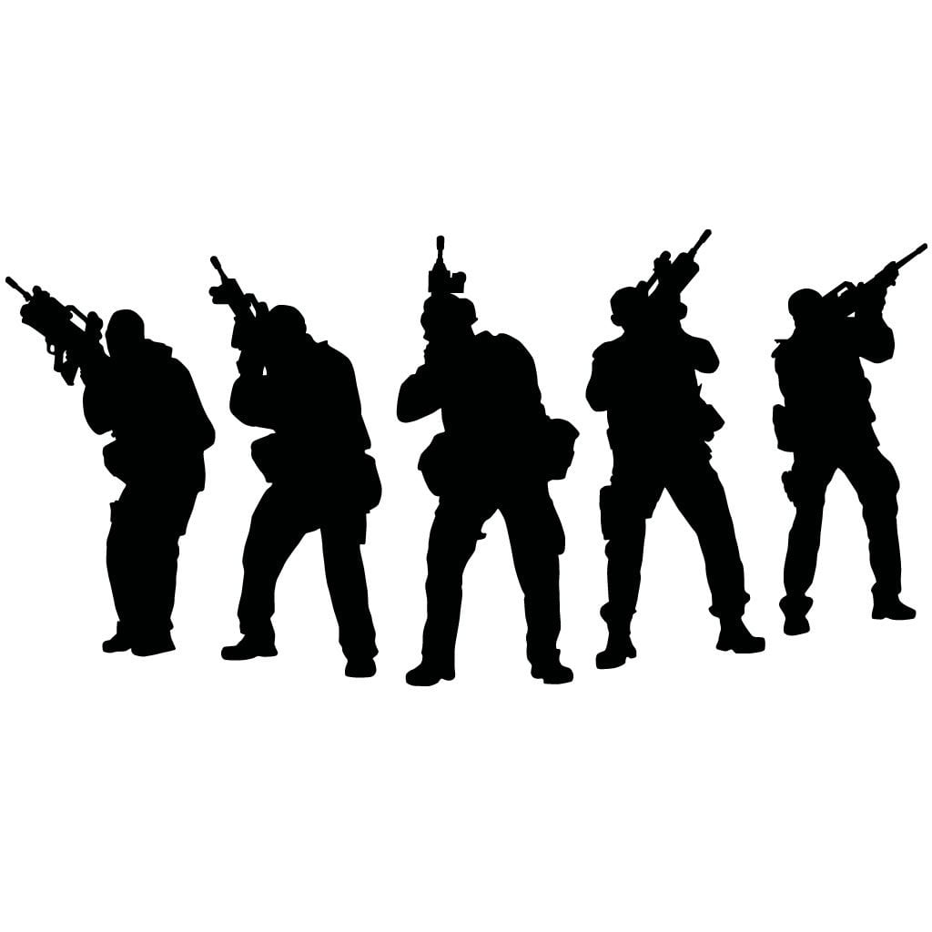Army soldiers above military wall sticker
