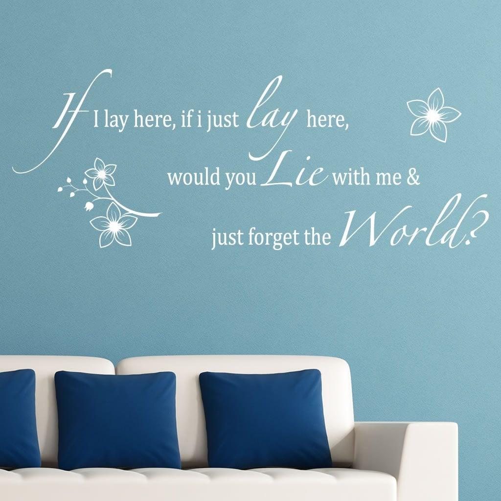 If I Lay Here Flowers Lyrics Wall Sticker World Of Wall Stickers