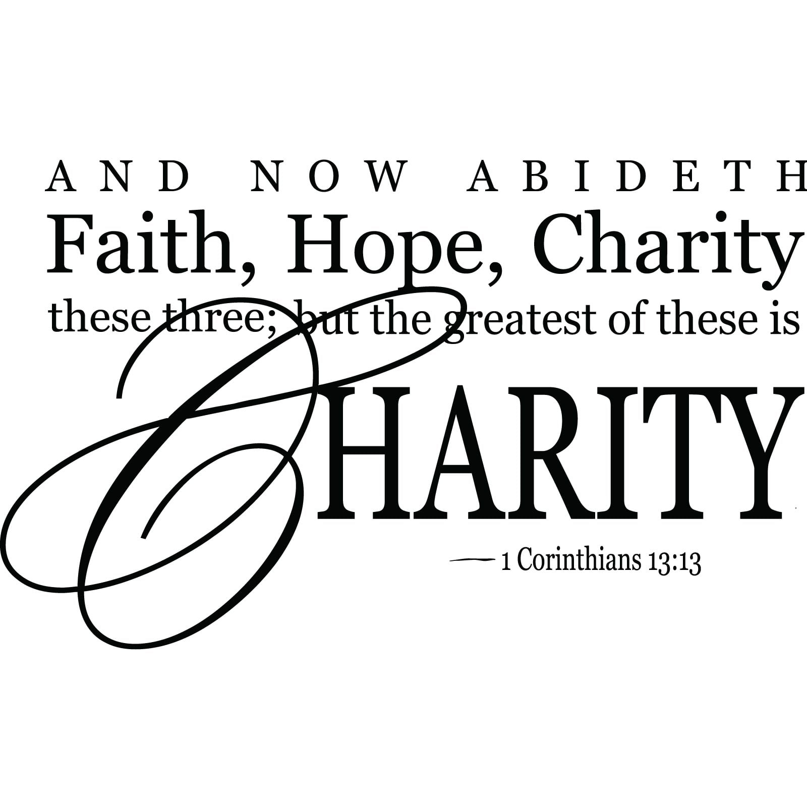 Faith Hope Charity Religious Quote Wall Sticker World Of Wall Stickers