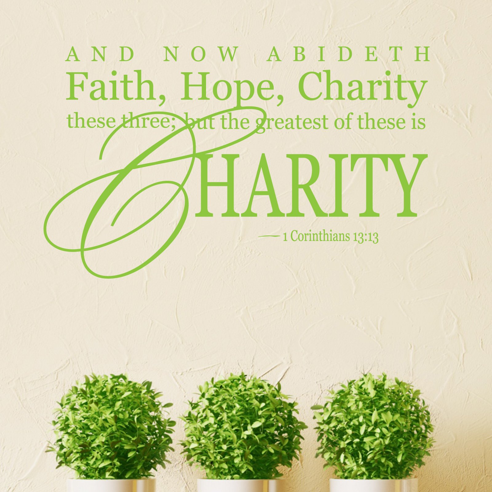 Hope And Faith Quotes: Faith Hope Charity Religious Quote Wall Sticker