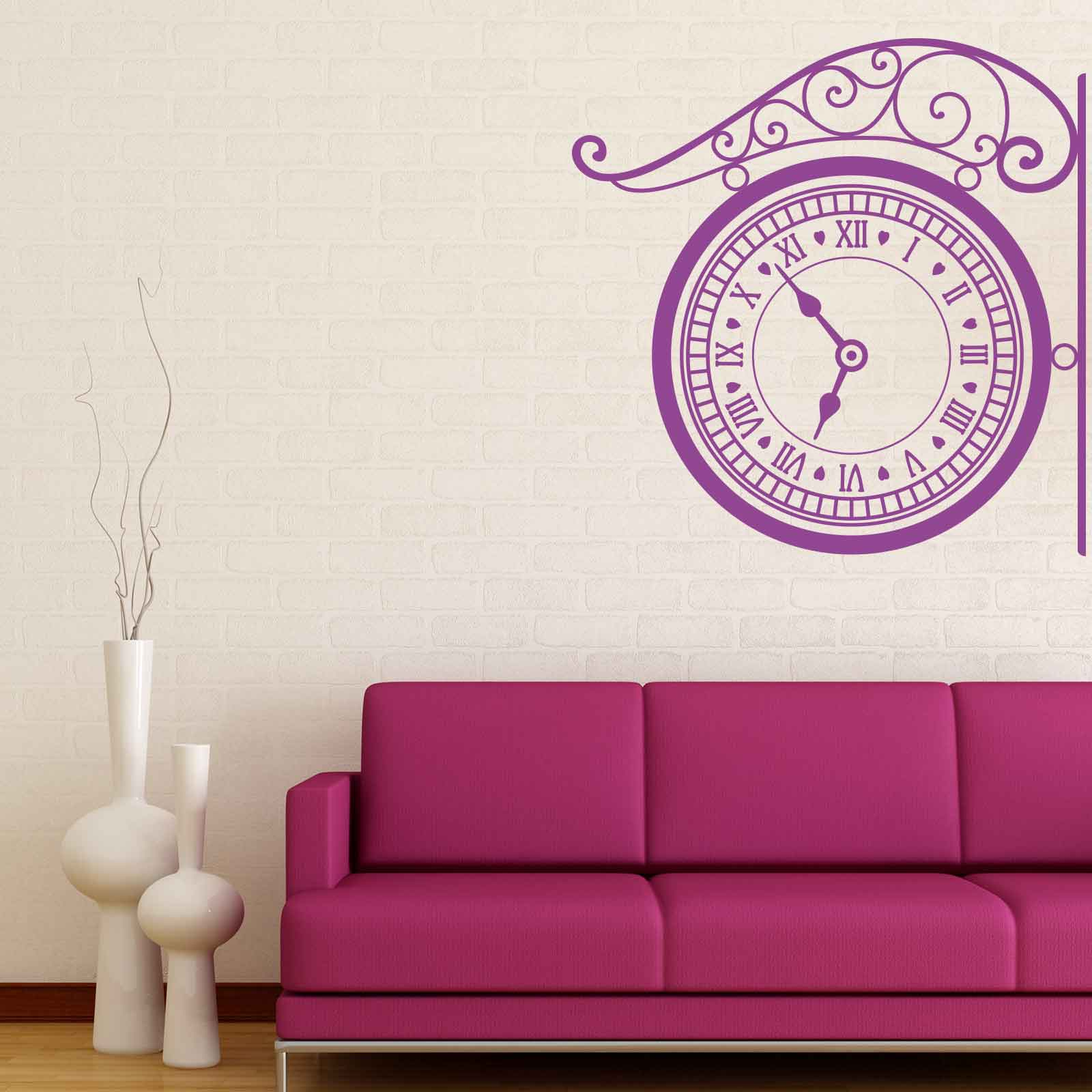 Hanging Lamp Wall Sticker: Hanging Clock Vintage Wall Sticker