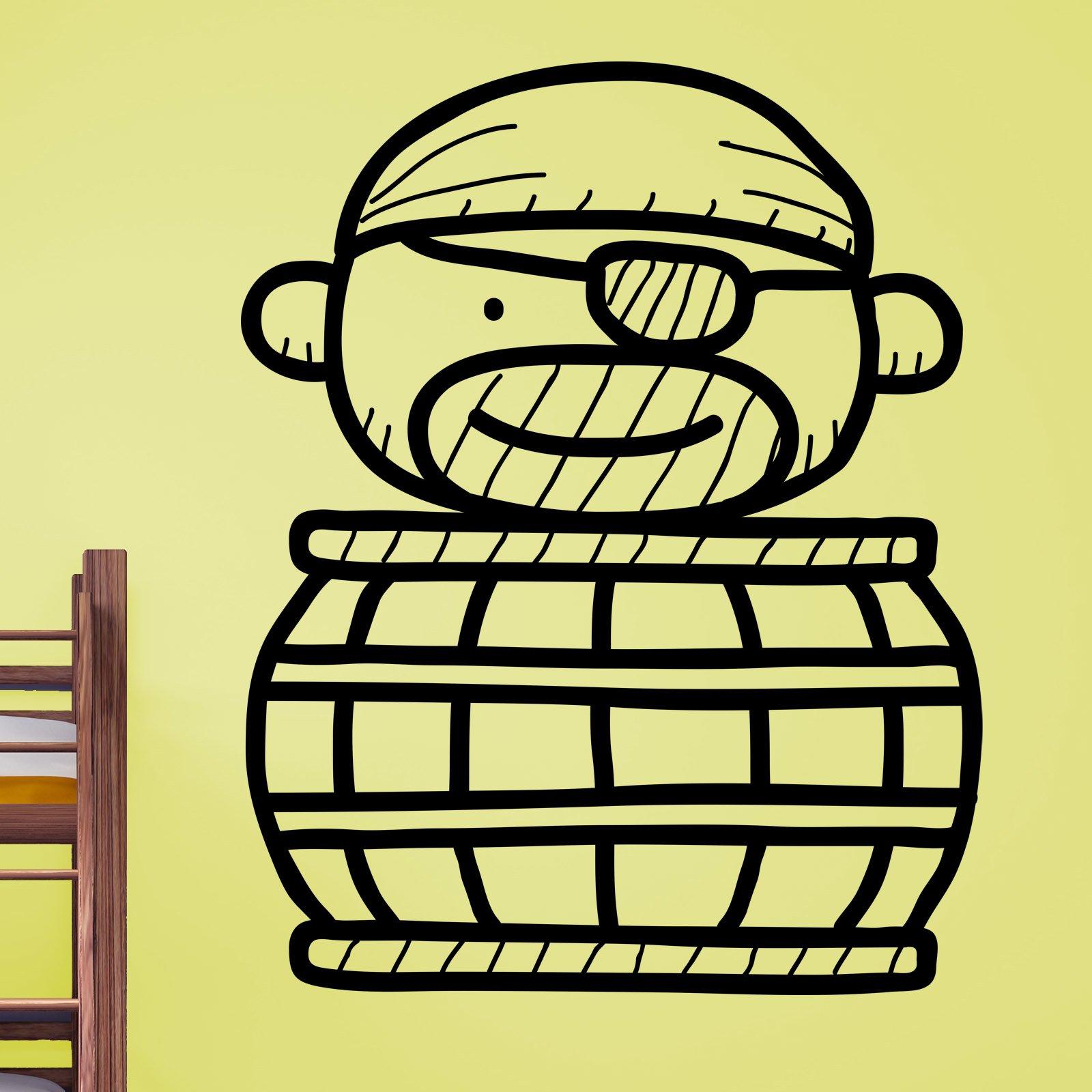 Cartoon Pirate in a Barrel Kids Wall Sticker - World of Wall Stickers