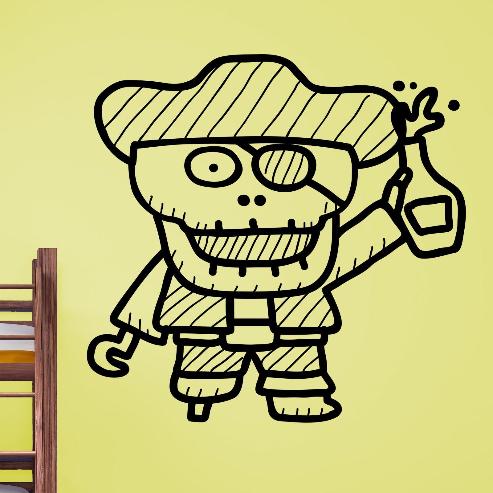 Pirates Kids Wall Decal: Cartoon Skeleton Pirate Kids Wall Sticker