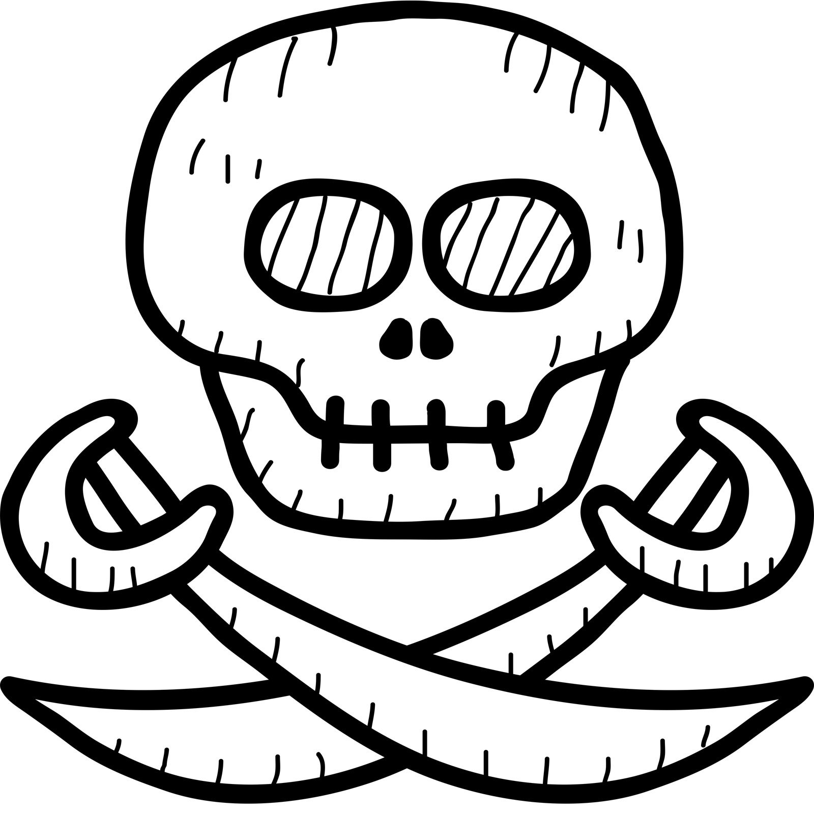 Pirates Kids Wall Decal: Cartoon Pirate Skull And Cross Swords Kids Wall Sticker