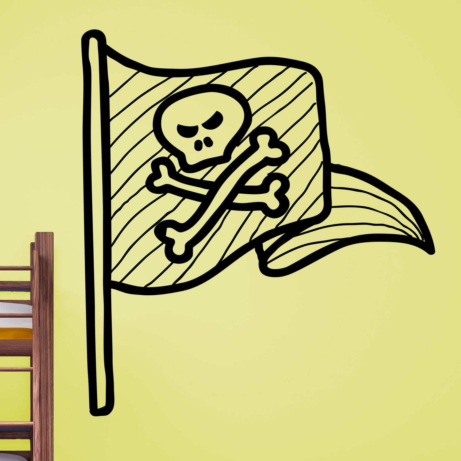 Cartoon Pirate Flag Kids Wall Sticker - World of Wall Stickers