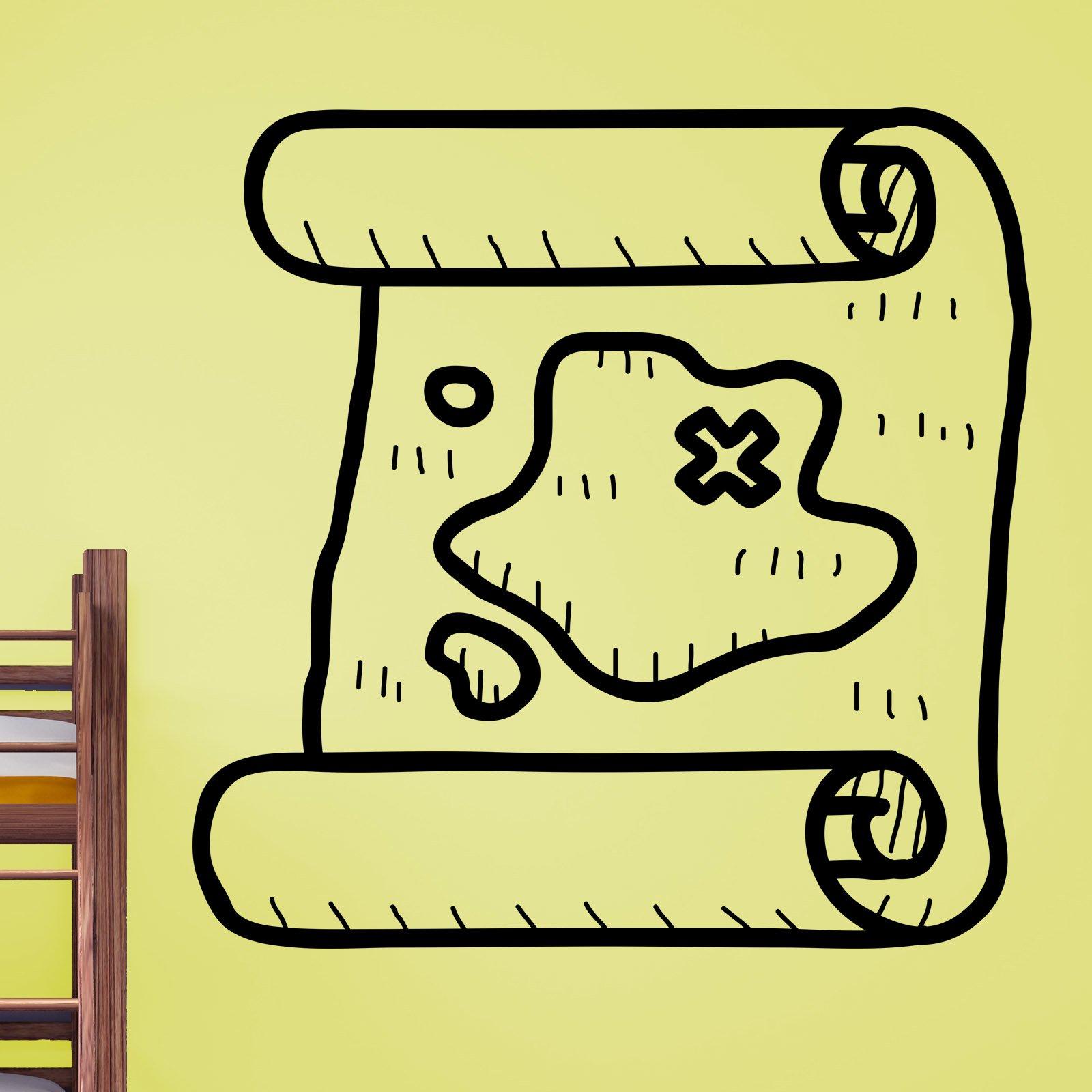 Cartoon Pirate Treasure Map Kids Wall Sticker - World of Wall Stickers