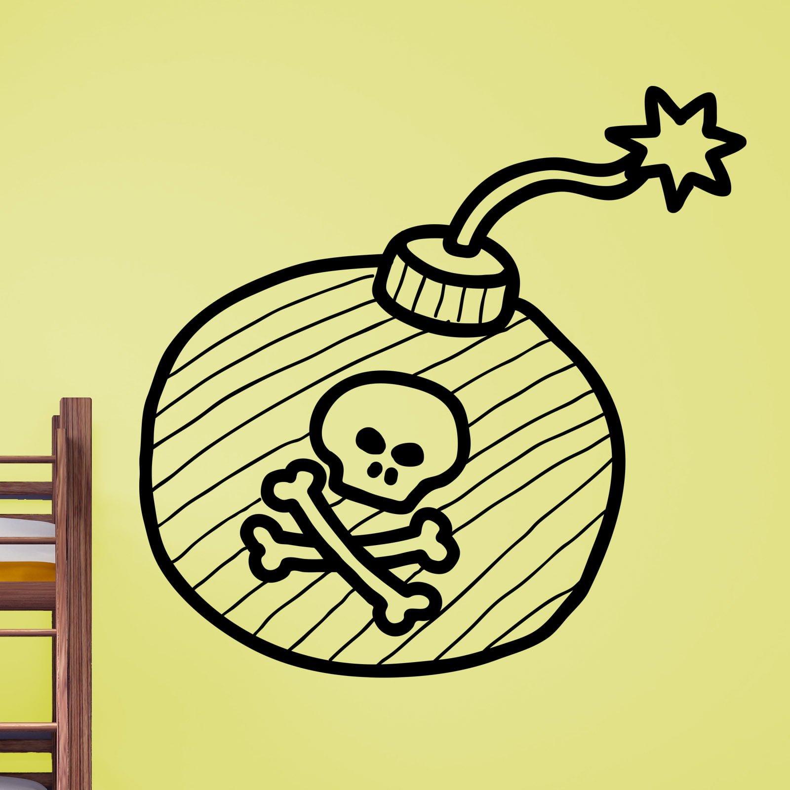 Pirates Kids Wall Decal: Cartoon Pirate Bomb Kids Wall Sticker / Decal
