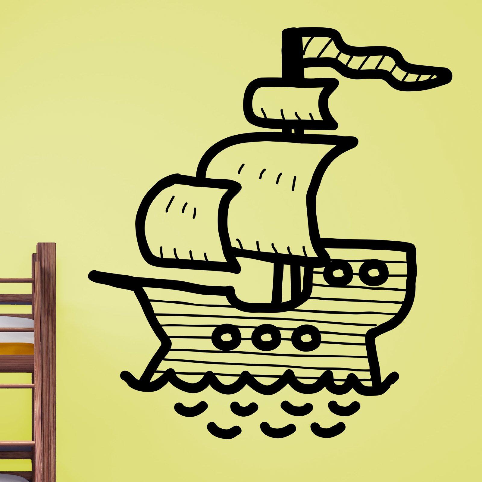 Cartoon Pirate Ship Kids Wall Sticker - World of Wall Stickers