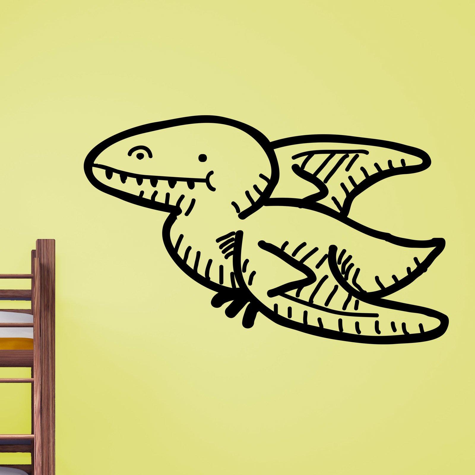 Cartoon Flying Pterodactyl Dinosaur Kids Wall Sticker - World of ...
