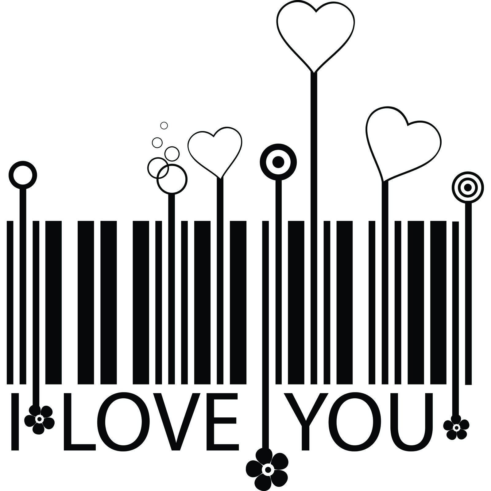 I Love You Barcode And Hearts Wall Sticker World Of Wall