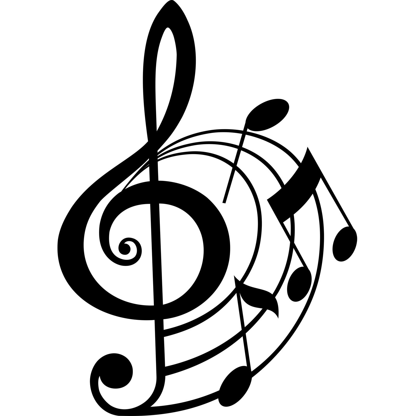 clef treble musical notes note wall sticker drawing decal outline stickers