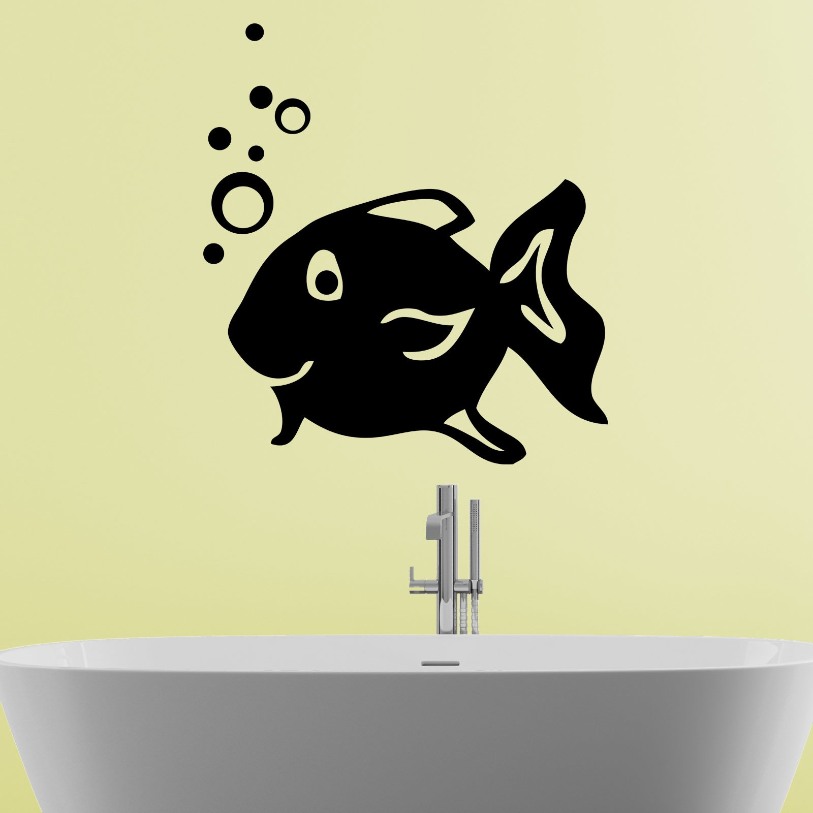 Happy Fish Blowing Bubbles Bathroom Wall Sticker - World of Wall ...