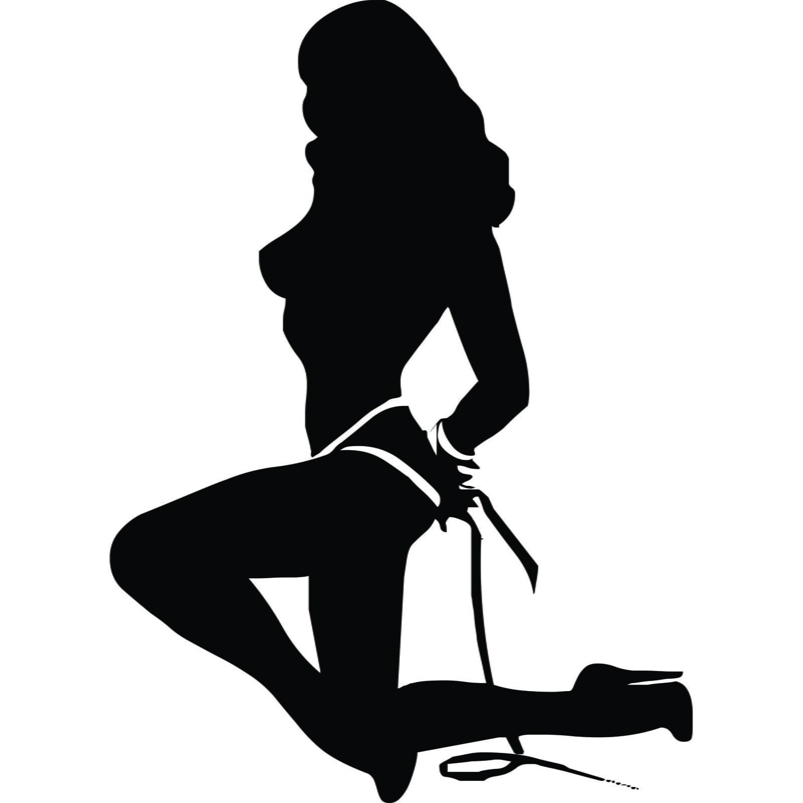 Tied Up Sexy Lady Silhouette Wall Sticker Decal World