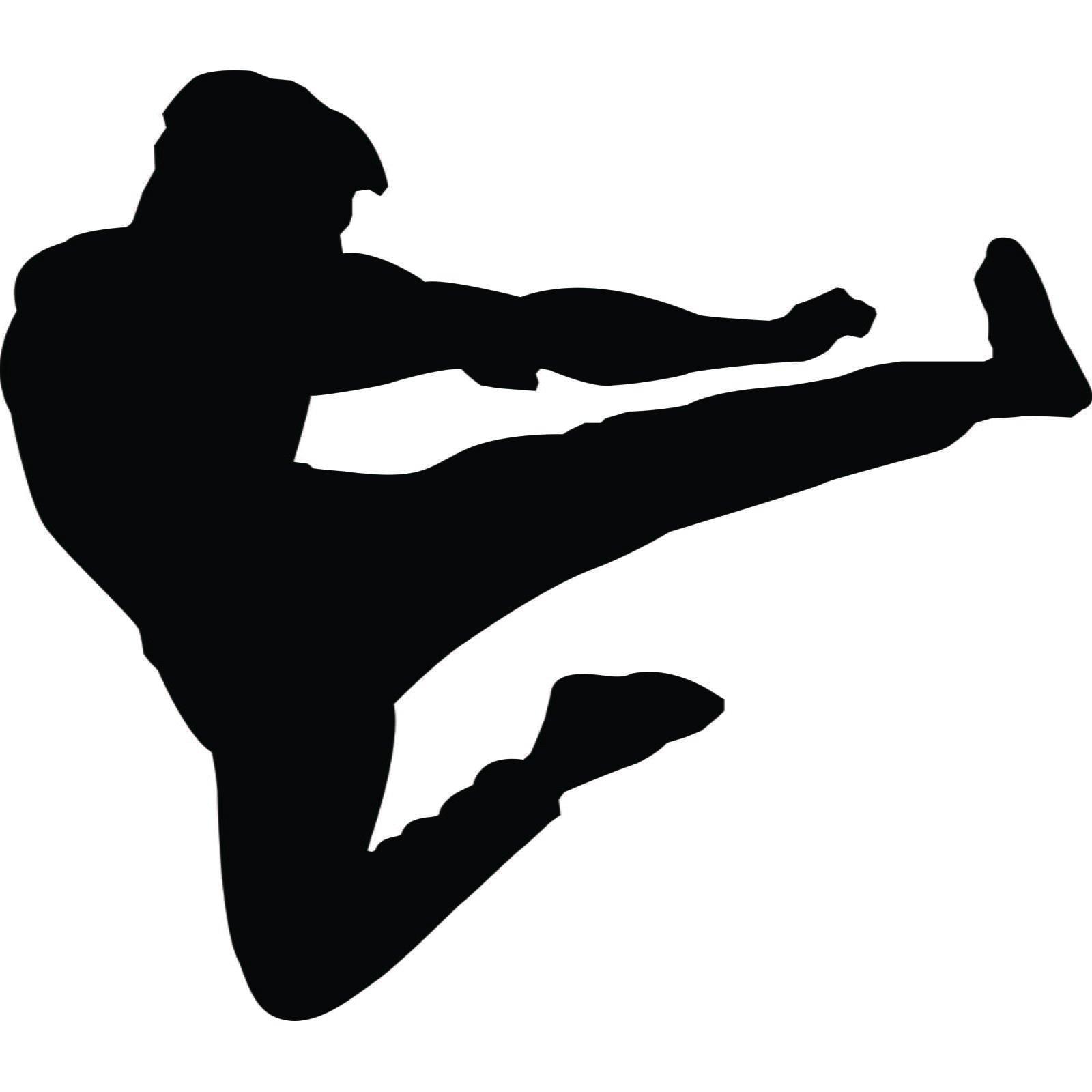Mirrored Wall Art Stickers Martial Arts Flying Kick Karate Kung Fu Wall Sticker