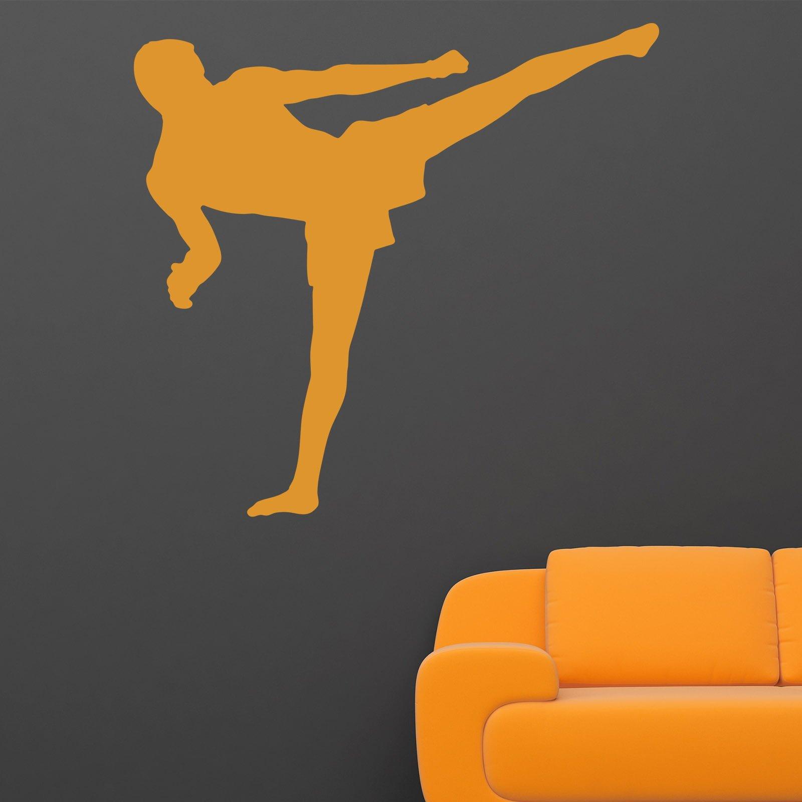 Home / HOBBIES u0026 SPORTS / Martial Arts & Martial Arts Flying Kick Muay Thai Kickboxing Wall Sticker - World ...