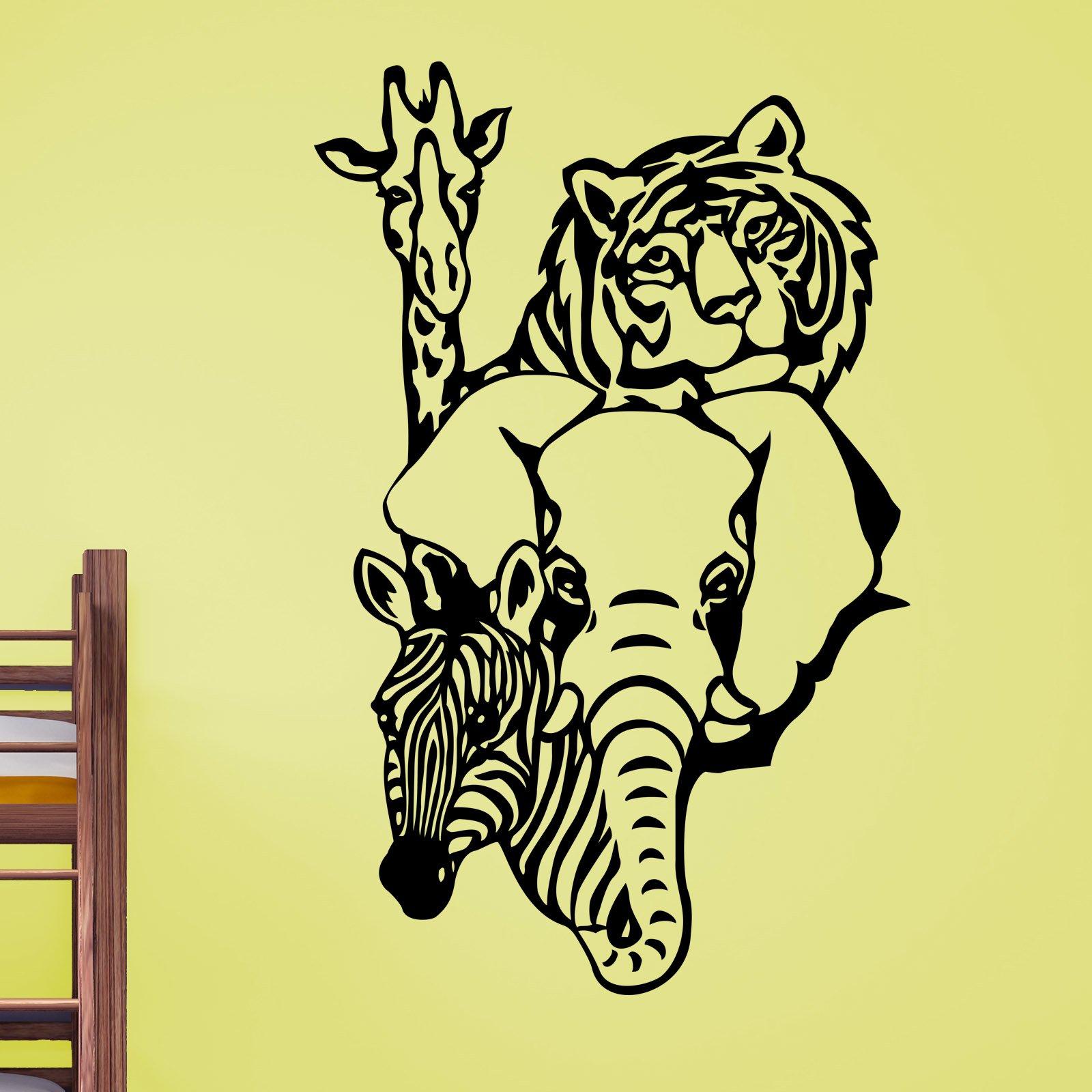 Tiger Giraffe Elephant Zebra Animal Wall Sticker - World of Wall ...